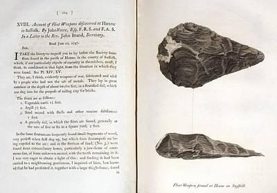 Biface Photograph - Early Man-made Handaxe, 1800 by Paul D. Stewart