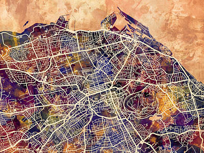 Scotland Digital Art - Edinburgh Street Map by Michael Tompsett