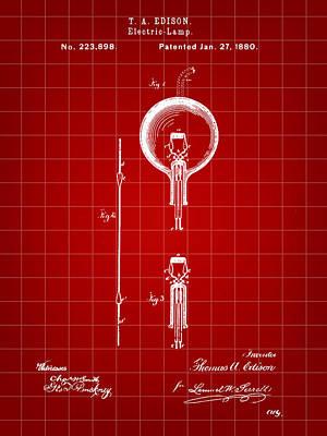 Edison Light Bulb Patent 1880 - Red Art Print by Stephen Younts