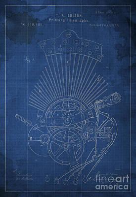 Blueprint Digital Art - Edison Printing Telegraphs Patent Blueprint 1 by Pablo Franchi