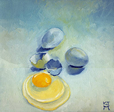 Painting - 3 Eggs On Blue by Katherine Miller