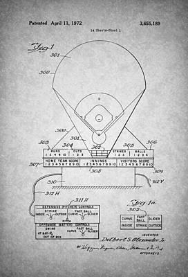 Baseball Art Drawing - Electric Baseball Game Patent 1972 by Mountain Dreams