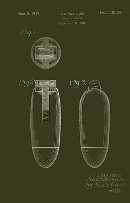 Electric Razor Drawing - Electric Razor Patent 1939 by Mountain Dreams