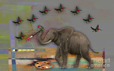 Birds Mixed Media - Elephant Painting by Marvin Blaine