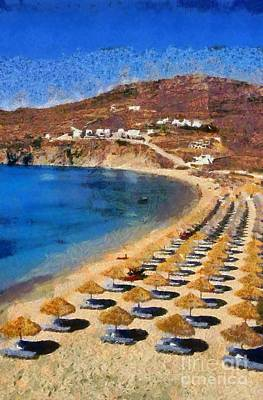 Painting - Elia Beach In Mykonos Island by George Atsametakis