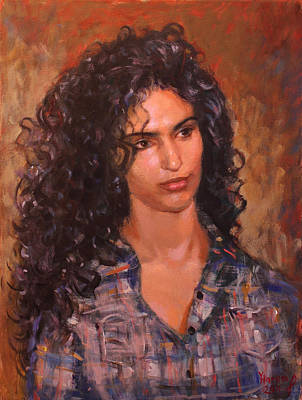 Curly Hair Painting - Erbora by Ylli Haruni