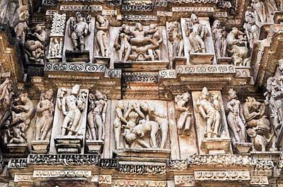 Antique Maps - Erotic Human Sculptures Khajuraho India by Rudra Narayan  Mitra