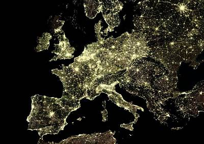 Europe At Night Art Print by Planetobserver