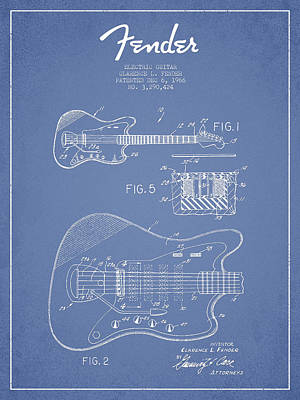 Fender Electric Guitar Patent Drawing From 1966 Art Print by Aged Pixel