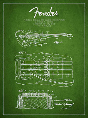Bass Digital Art - Fender Floating Tremolo Patent Drawing From 1961 - Green by Aged Pixel