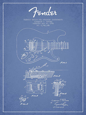 Bass Digital Art - Fender Tremolo Device Patent Drawing From 1956 by Aged Pixel