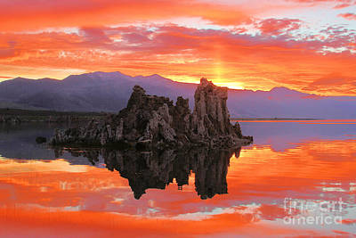 Fiery Mono Lake Sunset Art Print by Adam Jewell