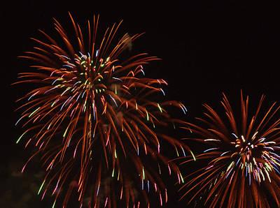 Fireworks At The Albuquerque Hot Air Art Print by William Sutton