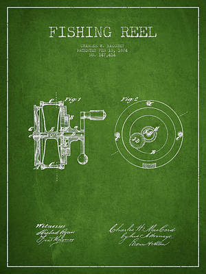 Fishing Reel Patent From 1874 Art Print