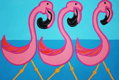 3 Flamingos  Art Print by Matthew Brzostoski