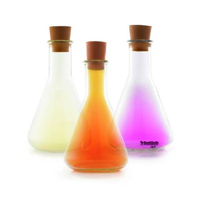 Trio Photograph - Flasks Containing Halogens by Science Photo Library