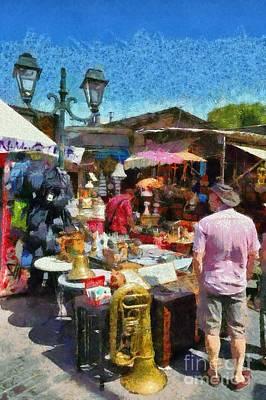 Bazaar Painting - Flea Market In Athens by George Atsametakis