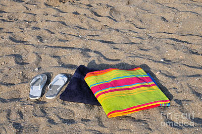 Sandals Painting - Flip Flops And Towels On Beach by George Atsametakis