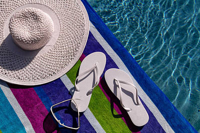 Flip Flops By The Pool Original by Teri Virbickis