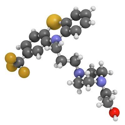 Fluphenazine Antipsychotic Drug Molecule Art Print