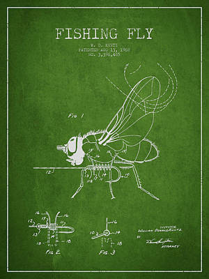 Fishing Fly Patent Drawing From 1968 - Green Art Print