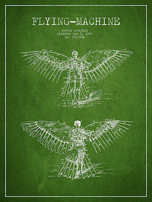 Icarus Drawing - Flying Machine Patent Drawing by Aged Pixel