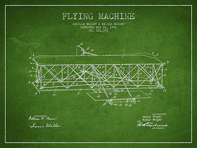 Transportation Digital Art - Flying Machine Patent Drawing from 1906 by Aged Pixel