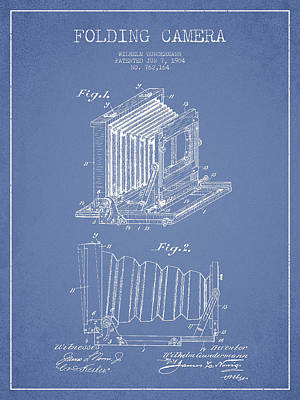 Folding Camera Patent Drawing From 1904 Art Print by Aged Pixel