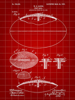 Football Patent 1902 - Red Art Print by Stephen Younts