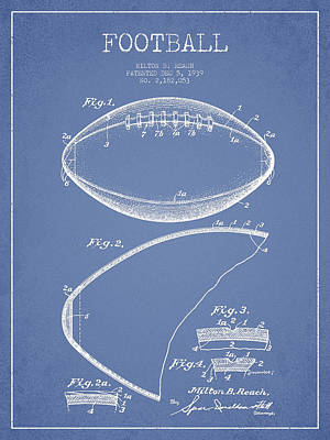Football Royalty-Free and Rights-Managed Images - Football Patent Drawing from 1939 by Aged Pixel