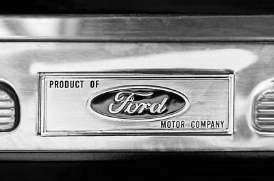 Powered By Ford Emblem -0307bw Art Print by Jill Reger