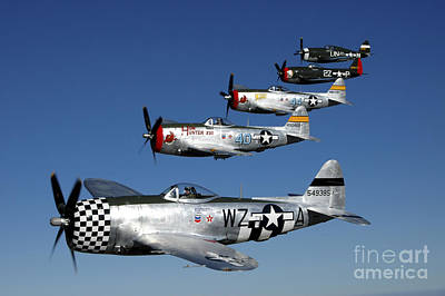 Transportation Royalty-Free and Rights-Managed Images - Formation Of P-47 Thunderbolts Flying by Phil Wallick