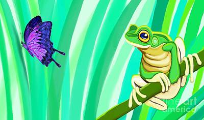 Frog And Butterfly Art Print by Nick Gustafson