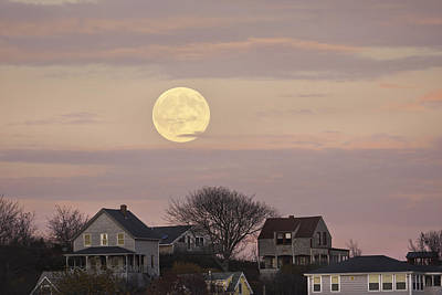 Maine Cottage Photograph - Full Moon Over Georgetown Island Maine by Keith Webber Jr