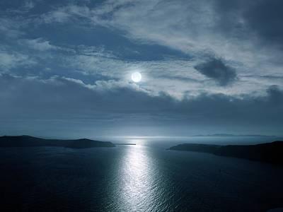 Moonlit Photograph - Full Moon Over The Sea by Detlev Van Ravenswaay