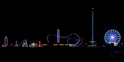 Photograph - Galveston Texas Pleasure Pier At Night by Todd Aaron