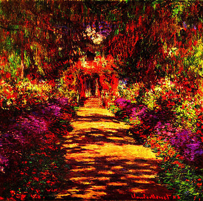 Illustration Painting - Garden At Giverny by Celestial Images