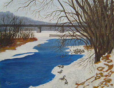 Wall Art - Painting - Geese On The Grand River by Lisa MacDonald