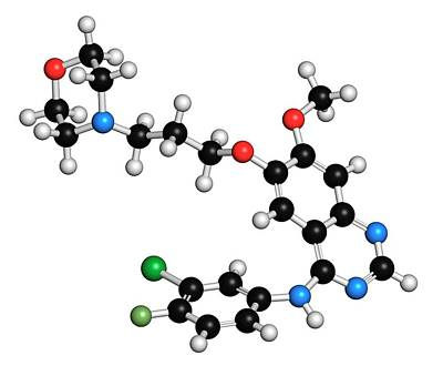 Personalized Photograph - Gefinitib Cancer Drug Molecule by Molekuul
