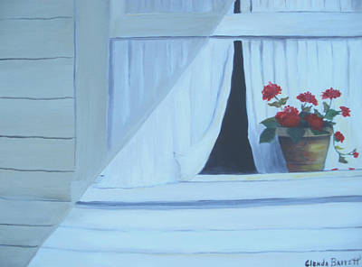Geraniums On Windowsill Art Print by Glenda Barrett