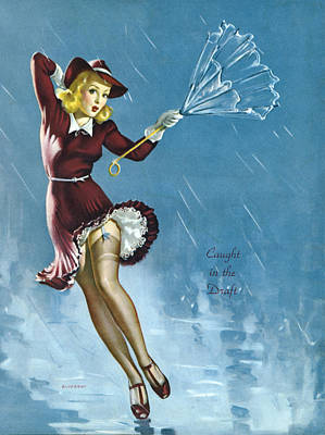 Rain Hat Photograph - Gil Elvgren's Pin-up Girl by Underwood Archives