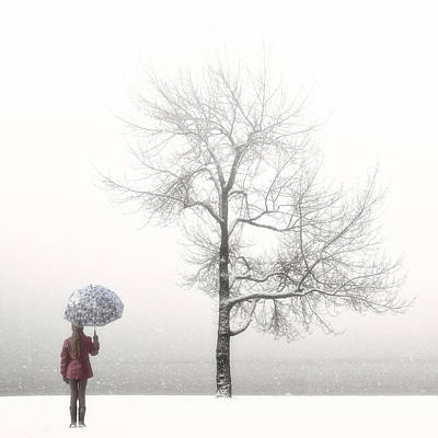 Girl With Umbrella Art Print
