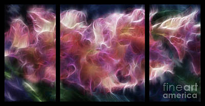 Gladiola Nebula Triptych Art Print by Peter Piatt