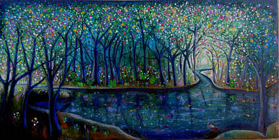 Painting - Glistening Forest Lake by Shirley Smith