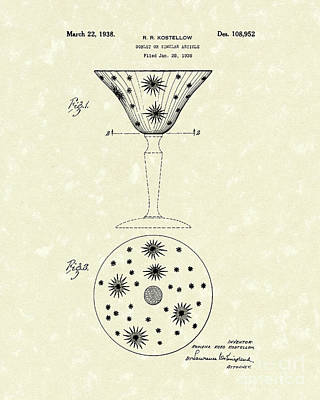 Etched Glass Drawing - Goblet 1938 Patent Art by Prior Art Design