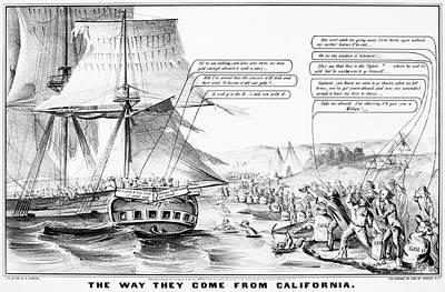 Destiny Painting - Gold Rush Cartoon, 1849 by Granger