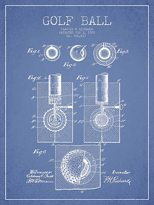 Golf Ball Patent Drawing From 1902 Print by Aged Pixel