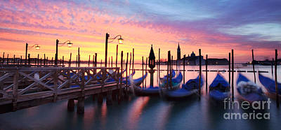 Scenic Photograph - Gondolas At Sunrise Venice Italy by Matteo Colombo
