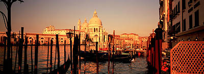 Domes Of Venice Photograph - Gondolas In A Canal, Venice, Italy by Panoramic Images