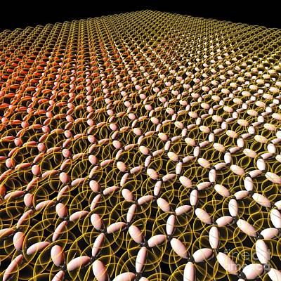 Planar Photograph - Graphene, Molecular Structure by Russell Kightley